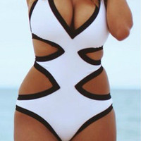White And Black Cutout Swimwear