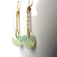 Chrysolite Opal Heart Earrings, Swarovski Opal Heart Dangle Earrings