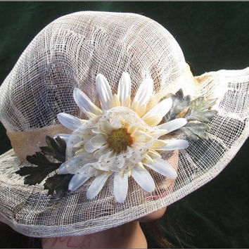 Natural Sinamay Summer Brim Hat with Reassembled Daisy Flower