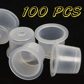 100 Pcs Large Size 18mm Plastic Tattoo Ink Cap Cups Supply SM6