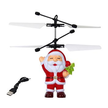 Electric Infrared Sensor Flying Santa Claus LED Flashing Light Toys RC Helicopter Drone Toy Kids Magic Christmas Gift