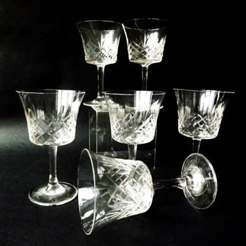 6 Edwardian Glasses, Small Drinking Glasses, Small Coupe,  Antique Sherry Glass, Vintage Cocktail Stemware Barware, Port Glass, Special Gift