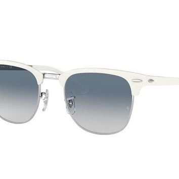 Ray Ban Sunglasses Clubmaster RB3716 9088/3F White Silver Frames Blue Lens 51MM
