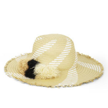 White BCBG Pom-Pom Floppy Hat