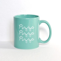 Seafoam Teal Pizza Coffee Mug - Birthday Gift Idea for Pizza Lover - Pizza Cup - Funny Coffee Mug - Unique Graduation Gift Idea