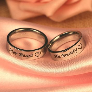 1 PCS Her Beast His Beauty Ring Couple Rings Wedding Jewelry for Lovers Engagement Promise Jewelry ring