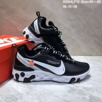 PEAP N653 UNDERCOVER x Nike Upcoming React Element Leather Big Logo Running Shoes Black White