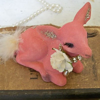 Christmas pink flocked deer shabby chic adorned decoration or ornament Anita Spero