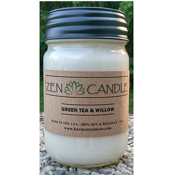 Best Zen Candle - 100% Soy & Beeswax 11 Oz - Handmade in the USA - TWO SCENTS TO CHOOSE FROM (Green Tea & Willow - White Tea & Ginger)