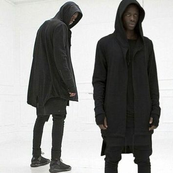HOT Men's Causal Mid Long Hooded Cardigan Cloak Coats Solid Sweater Jackets