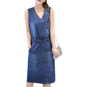 Summer Denim Dress Women Plus Size Clothing Sleeveless Jeans Shirt Dress Female Casual V Neck Midi Beach Dresses Vestidos