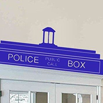 Dr. Who Inspired Police Box Door Top Wall Decal Parody Sticker