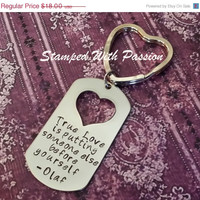 Handstamped Key chain - Disney Frozen Quote -True Love is putting someone else before yourself - Olaf