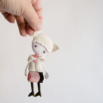 Art Doll Brooch Cat Hat mixed media collage by miopupazzo on Etsy