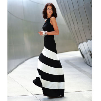 Elegant Sexy Women Black White Stripes Boho Long Maxi Evening Cocktail Party Beach Dressss