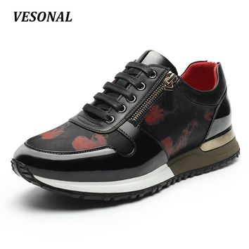 VESONAL 2017 New Wedge Men Shoes Fashion High Quality PU Personality Side Zip Mens Shoes Casual Designer Black Blue SD6125