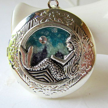 One of a Kind Mermaid Locket Stained Glass Jewelry Silver Round Mermaid Necklace Aquamarine Crystal Hand Painted Locket Mermaid Jewelry