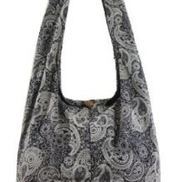 Black Cotton Printed Standing Coral Crossbody Shoulder Hippie Boho Hobo Messenger Bag PC07