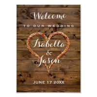 Welcome Sign | Rustic Metal Heart Wood Wedding