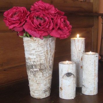 Birch Bark Vase and 3 Birch Bark Candle by FloralAccents
