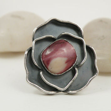 Sterling Silver Rose Ring, Pink Mookaite Stone, Oxidized Silver Flower Ring, one of a kind Jewelry, Size 8.75 Ring - Rosy Disposition