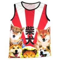 Adorable Shiba Inu Photo Graphic Print Oversized Unisex Tank Top