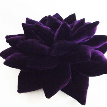 "rich purple Lotus flower  velvet pillow/ cushion in the size 16""x16"""