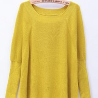 Long Sleeve Round Neck Sweaters Yellow$46.00