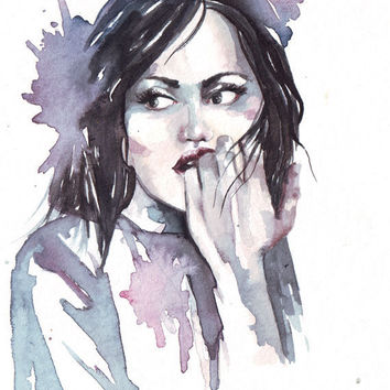 Original watercolor painting Portrait of woman with wet black hair modern art