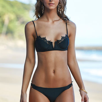 Kendall and Kylie Lace Trim Fixed Triangle Bikini Top at PacSun.com