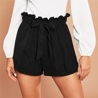 Casual Tie Front Ruffle Waist Paperbag Shorts Women Drawstring Solid Mid Waist Shorts Streetwear Cute Shorts