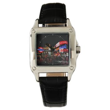 Fantasy Glowing Piccadilly London At Night Named Wrist Watch