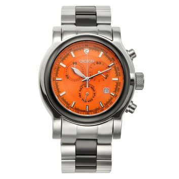 Croton Mens Stainless Steel & Ceramic Silvertone   Chronograph Watch