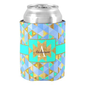 Blue & Turquoise Boho Tribe Glam Gold Monogrammed Can Cooler