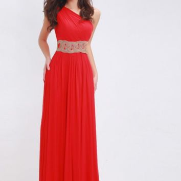 Red Chiffon Prom Dresses Long Straight for Women Elegant with One-shoulder Beading Simple Party Gowns