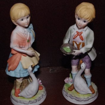 2 Vintage Porcelain Figurines of Boy and Girl Feeding Geese - Lenwile China Japan # 7172