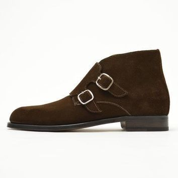 Wakeby Wolf Finesse Double Monk Chukka Suede Boots