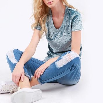 holly - crushed velvet basic short sleeve v-neck tee - more colors