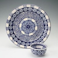 Blue Celebration Two Piece Chip and Dip by owlcreekceramics
