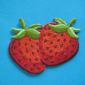 SALE~ Iron-on Embroidered applique strawberry 2.4 inch