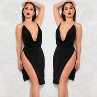 Black Backless split Dress 2016 Sexy Womens Night Party Club Dresses Deep v neck mini Dress Slim Clubwear Bodycon Dress