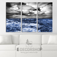 Large Wall Art Canvas Print Storm on Blue Ocean (Sea)  Ready to Hang  3 Panels Stretched on Deep 3cm Frame