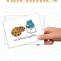 Cute Valentines Cards, Cookies and Milk, We Belong Together Card Illustrated Greeting Card, Cartoon Valentine, Love Cards, Food Valentines