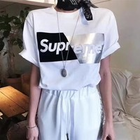 """""""Supreme"""" Women Casual Personality Multicolor Letter Print Short Sleeve T-shirt Top Tee"""