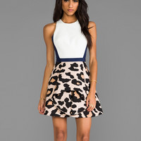 Finders Keepers Departed Dress in Navy & Large Animal Print
