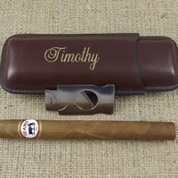 Leather Cigar Case with Cutter - Personalized - Groomsmen gift - Best Man -Gifts for Men