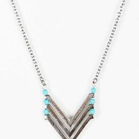 Chevron Turquoise Necklace - Silver One