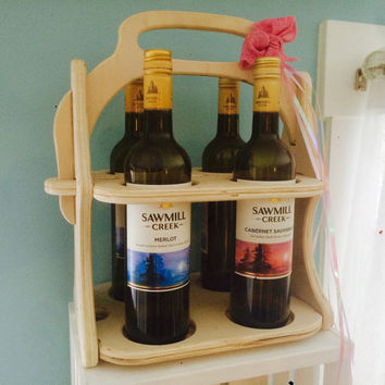 Customized Wine Tote Wood Wine Caddy Wine Carrier Wine Gift Wine Rack Wine Bottle Holder Wine Accessories Wine Holder Picnic Party Wedding
