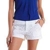 White Low Rise Lace Shorts by Charlotte Russe