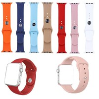 38MM 42MM Replacement Strap Soft Silicone Sport Wrist Band For Blue iWatch 1 2 3